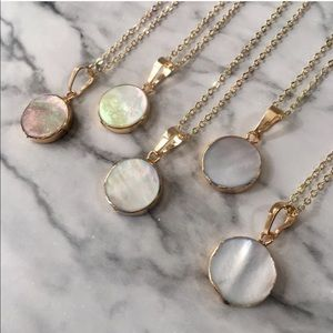 14K gold minimalist pearl shell necklaces